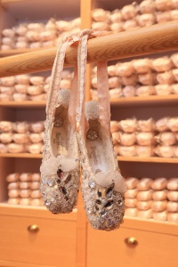 Specially decorated Cinderella pointe shoes inspired by Ballet Classics for Children: Cinderella